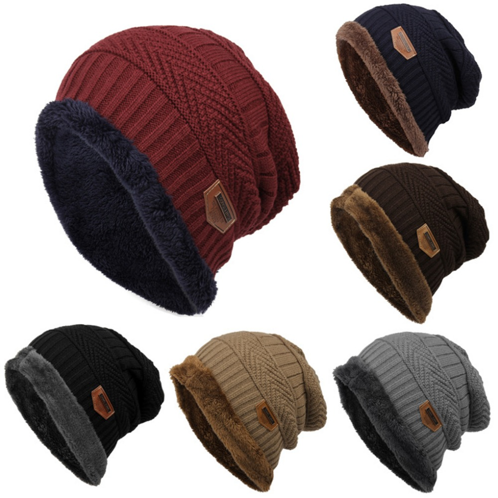 Sales Promotion 6 Colors Winter Hats for Men Solid Color Knitted Hats Flocking Warm   Beanie   Bonnet Femme Balaclava Hats