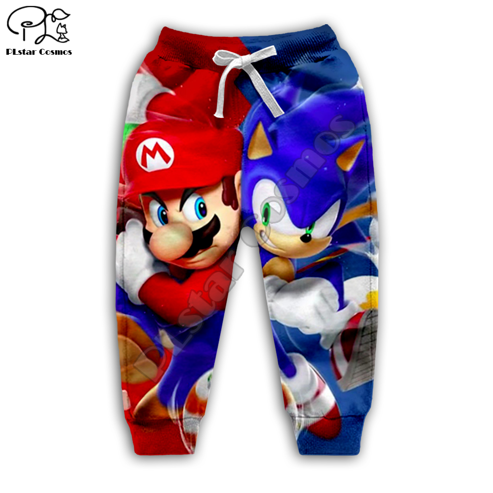 Super mario Sonic 3d Hoodies Children zipper coat Long Sleeve Pullover Cartoon Sweatshirt Tracksuit Hooded pants family t shirts in Matching Family Outfits from Mother Kids