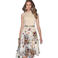 Vfemage Womens Summer Vintage Elegant Belted Print Chiffon Patchwork Tunic Work Office Party Fit And