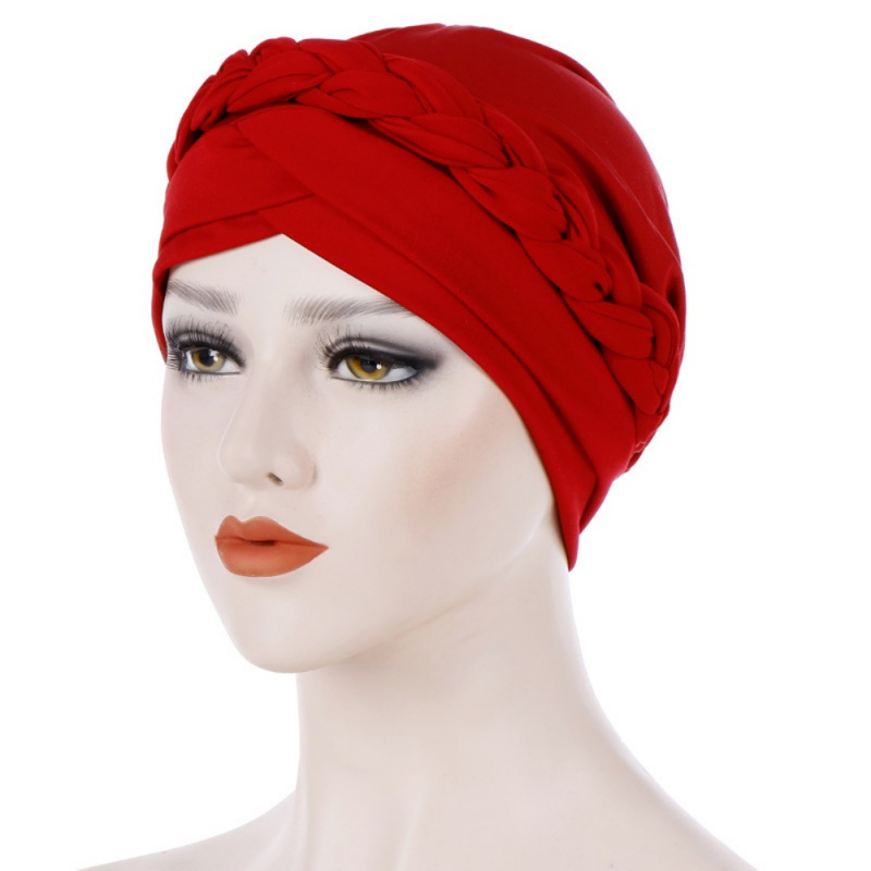 Bohemia Style Women Turban Hat Fashion Braid Knot Lady Head Scarf Hijab Muslim Inner Hijab For Women Hair Accessories Hair Loss