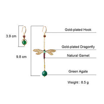 BOEYCJR Ethnic Vintage Dragonfly Stone Bead Asymmetric Dangle Earrings Fashion Jewelry Drop Hook Earrings For Women Gift