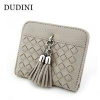 DUDINI Card Ladies Wallet Short Simple PU Leather Folding Thin Weave Wallet Photo Student Mini Tassel