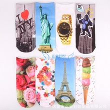 New Style Cute Characters 3d Sock Print Funny Boot Socks for Women