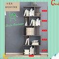 Moderna mesa de escritório estante simples prateleira simples chão livre combinação estante de madeira em crianças
