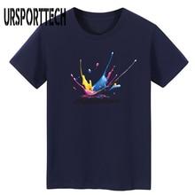 URSPORTTECH Brand T Shirt Men 3D Ink Jet Pattern Letter Print T Shirt 100% Cotton Short Sleeve Funny T Shirt Homme Plus Size 5XL недорого