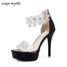 rhinestone pumps clear sandals transparent heels peep Toe pumps High Heels  Sandals summer sandals for women crystal Shoes YMA387 9fa68d17724e