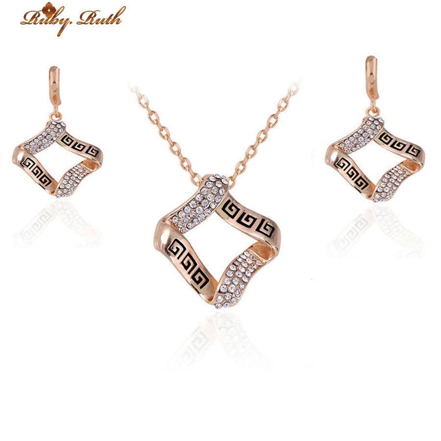 Rose ensembles de bijoux africain de mariée plaqué or collier boucles doreilles de mariée dubaï femmes pas cher nigériane mode .