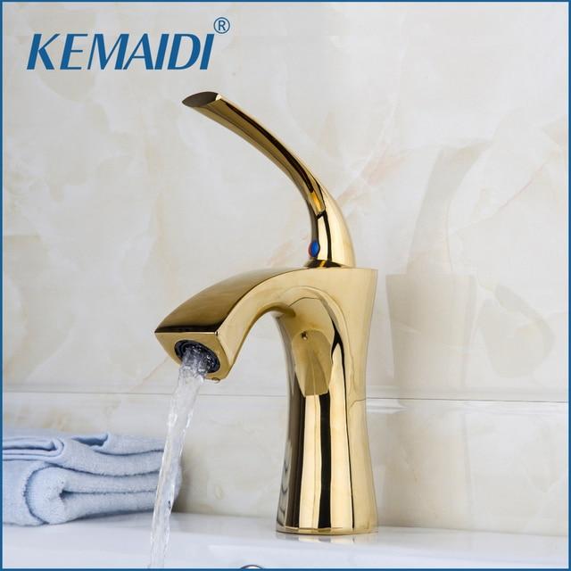 KEMAIDI Golden Finished Sink Faucet Modern Design Single Handle Solid Brass  Bathroom Faucet Bathroom Sink Mixer
