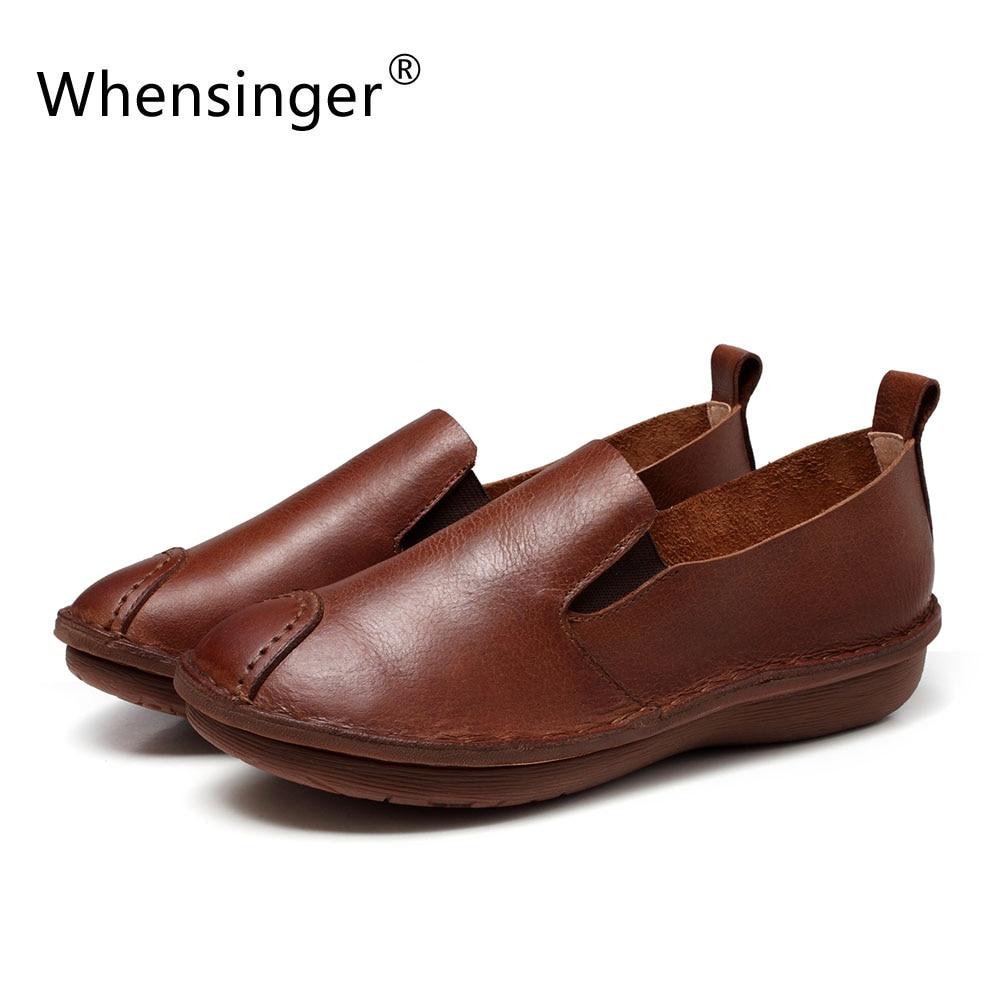 Здесь можно купить   Whensinger - 2017 Woman Shoes New Autumn Flats Genuine Leather Slip-On Design 655 Обувь