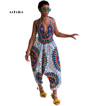 Echoine Women Jumpsuit Totem Printed Sexy V-Neck Halter Bandage Off Shoulder Loose Long Pants Fashionable Female Rompers
