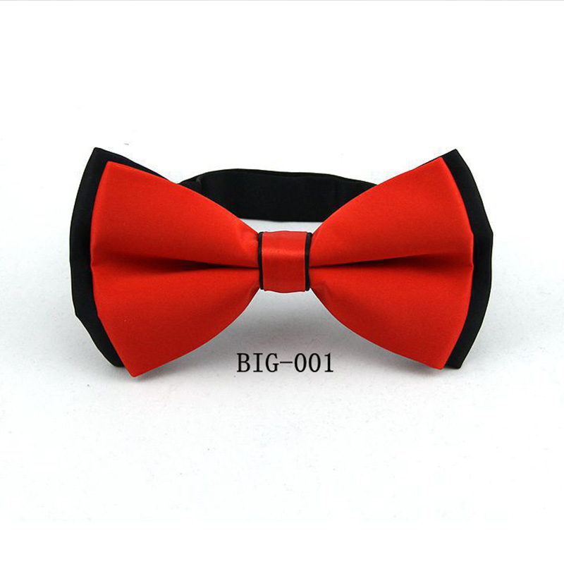 Mantieqingway Polyester Men's Large Solid Color Double Bowtie Ties For Men Shirts Bowknot Bow Tie Gravatas Vestidos Neck Tie