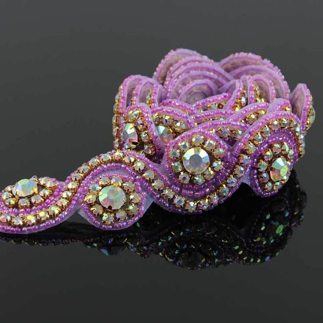 1Yard Stunning Clear Purple Crystal Rhinestone Sew On Trim Horse Browband  Craft R2422F06 f3e048c2109a
