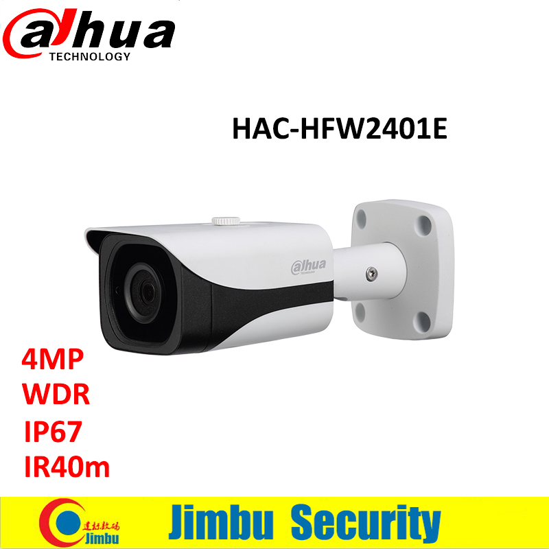 Dahua 4MP WDR HDCVI Bullet Camera HAC-HFW2401E lens3.6mm Max. IR length 40m waterproof IP67 CCTV security mini camera dahua 2mp hdcvi camera cctv 1080p water proof ip67 hac hfw1200s bullet camera lens 3 6mm ir leds length 30m mini security camera