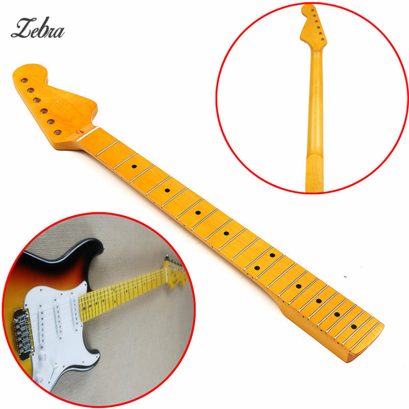Zebra Maple Wood Fret Board 22 Fret Electric Bass Guitar Neck Replacement For Stringed Musical  Instruments Parts Accessories zebra black mirror p bass electric guitar pickguard pb scratch plate for ukulele musical stringed instruments parts