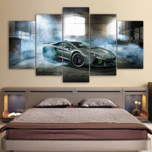 Modern Pictures Modular Canvas Poster HD Printed Wall Art 5 Pieces Home Decor Smoke Gray Luxury Sports Car Painting Frame