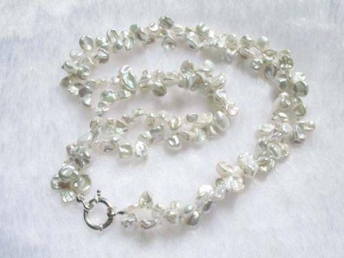 LIVRAISON GRATUITE >@@> N1544 collier blanc d'eau douce perle 2 brins keishi biwa perles