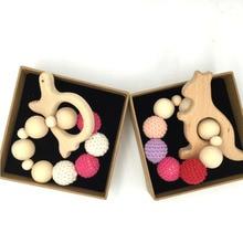 Crochet Bead Teething Wood Animal Bracelet Baby Mom Kids Wooden TeetherRing Untreated Maple Teether with Organic Wood Toy