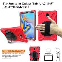 Чехол для Samsung Galaxy Tab A A2 10,5 «T590 T595 T597 tablet Kids из кожи, безопасный противоударный бронированная крышка + ремешок на руку и шею