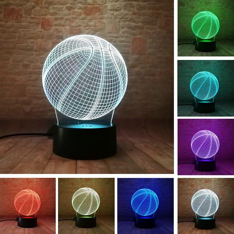 Dekorative Basketball Modell 3D Illusion Nachtlicht LED Bunte Licht Blinkt Desktop Lampe Spielzeug