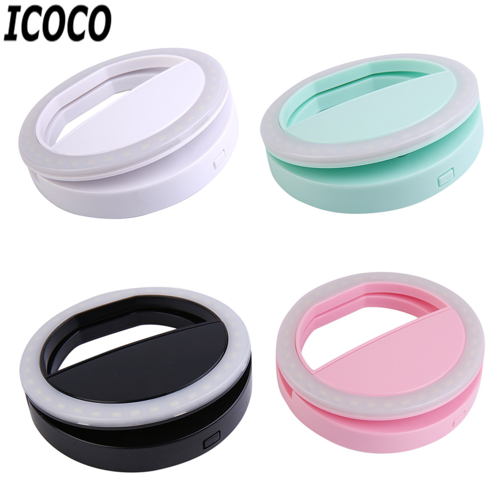 ICOCO Portable Mobile Phone Selfie Light Clip-On Lamp LED Flash Light Phone Ring For Iphone For Samsung Drop Shipping