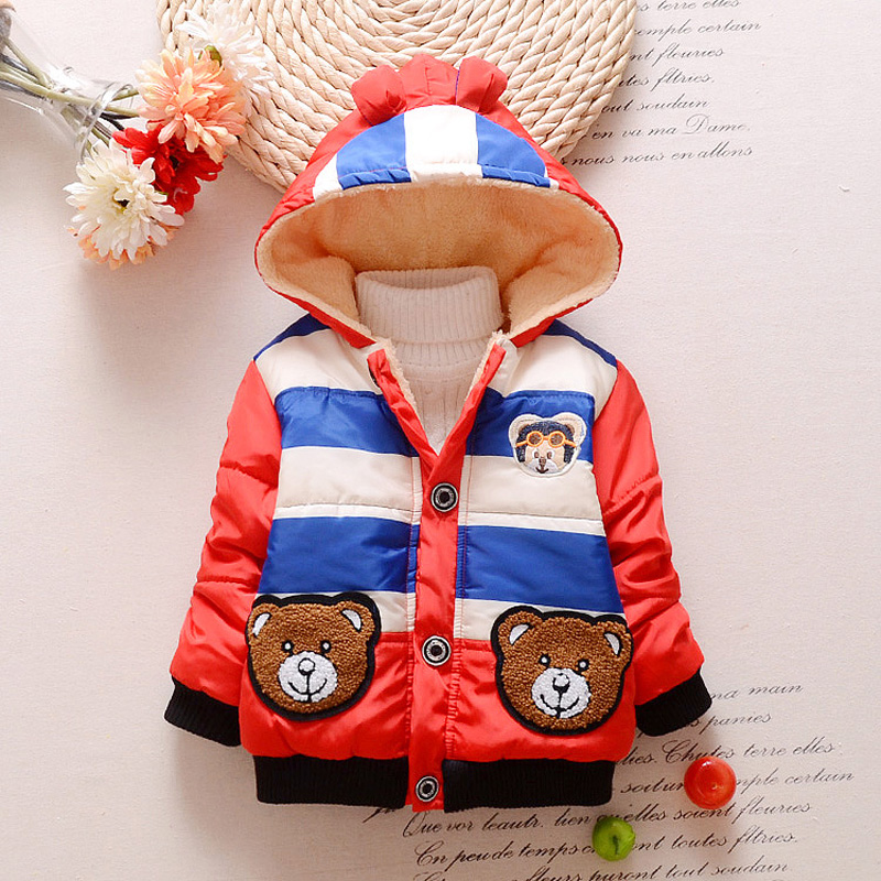 Baby Boys Jacket 2017 New Cartoon Bear Kids Winter Warm Cotton Hoodies Infant Fur Lined Coat Children Casual Outerwear Clothing