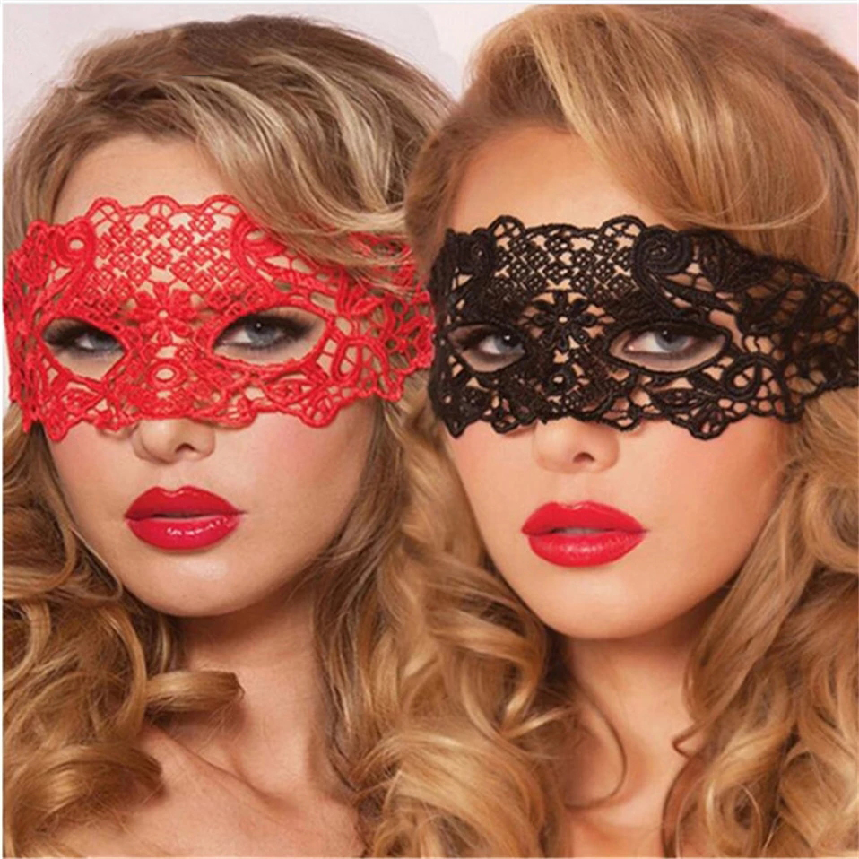 Quyue Sexy Babydoll Porn Lingerie Sexy Black/Red Hollow Lace Mask Erotic Costumes Women Sexy Lingerie Hot Cosplay Party Masks