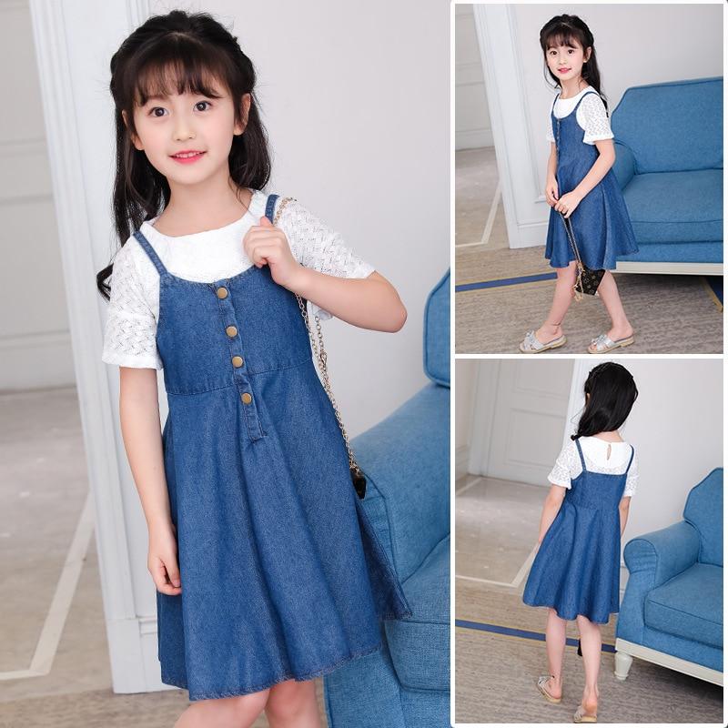 New Summer Children Clothes Girls Dress Casual Solid Denim Braces Dress Big Kids Princess Holiday Sundress