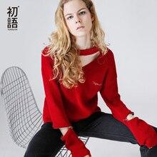 Toyouth вязаный свитер осень 2017 г. Модные женские вышивка v-образным вырезом с длинным рукавом выдалбливают пуловер Свитера