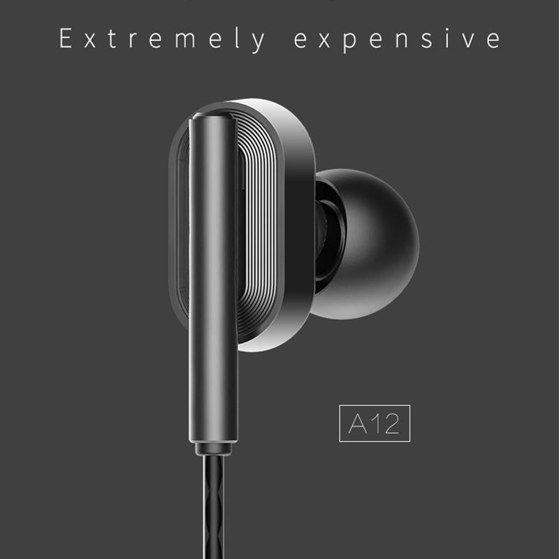 HiFi Stereo Music Headset Mobile Phone Computer Earphones In ear Universal Earphones 3 5mm Bass Earbuds Portable Headset A12 in Bluetooth Earphones Headphones from Consumer Electronics