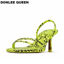 Купить с кэшбэком DONLEE QUEEN 2019 Fashion Snakeskin Gladiator Sandals Women Open Toe Toe Narrow Band Strange Heel Women Shoes Brand Summer Slide