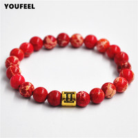 2016 New Arrival High Grade Mens Jewelry 8mm Red Sea Sediment Stone Beads Antique Gold 12