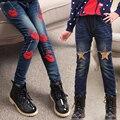 Подходит для 4,5, 6,7, 8,9, 10,11, 12,13 лет девушки случайные джинсы