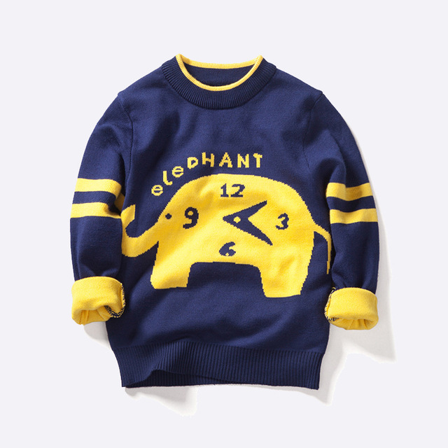 2016 New Knitted Sweater Boys Clothes Christmas Sweaters For Girls Cotton Woolen Cartoon Animals Children Clothing Outwear