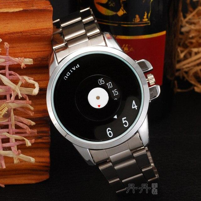 Marca Simples Ferro Metal Branco Preto Completa Aço Dial Turntable Relógio de pulso Das Mulheres Dos Homens Menina Unisex Senhora Vestido de Esportes de Presente relógios