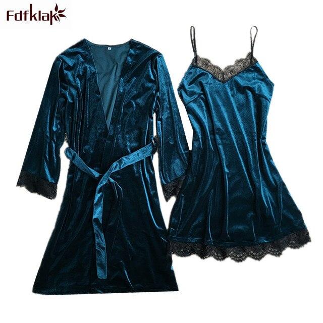 Fdfklak 2 Pieces Robe Set Autumn Winter Robes Women Gold Velvet ...