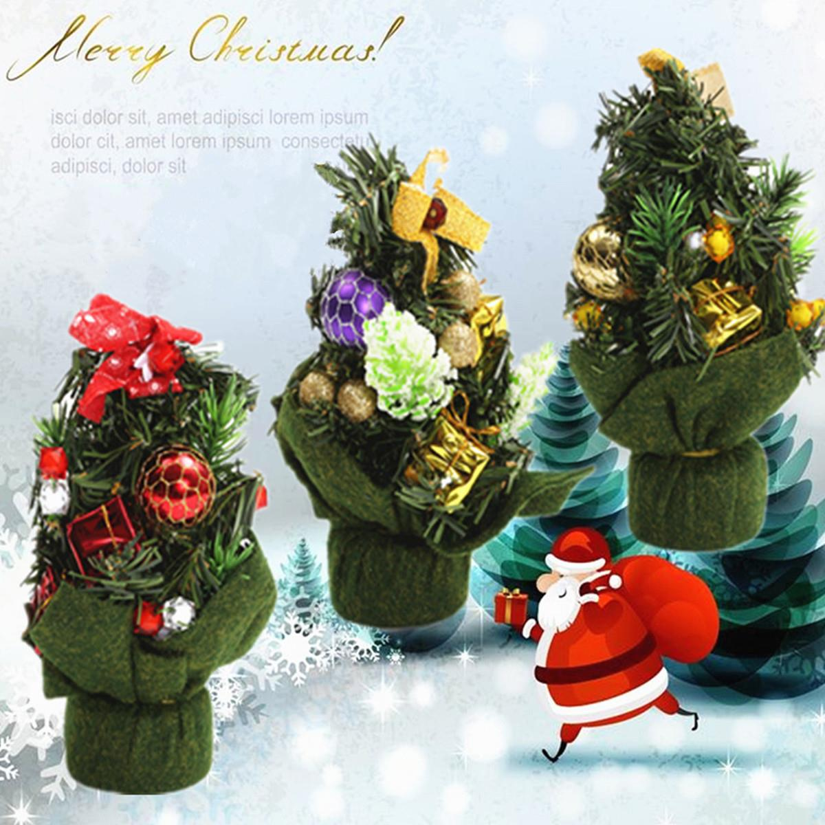 Tiny christmas tree ornaments - 3 Colors 20cm Christmas Small Figurine Gifts Mini Christmas Tree Ornaments Christmas Decoration Supplies Favor Accessories