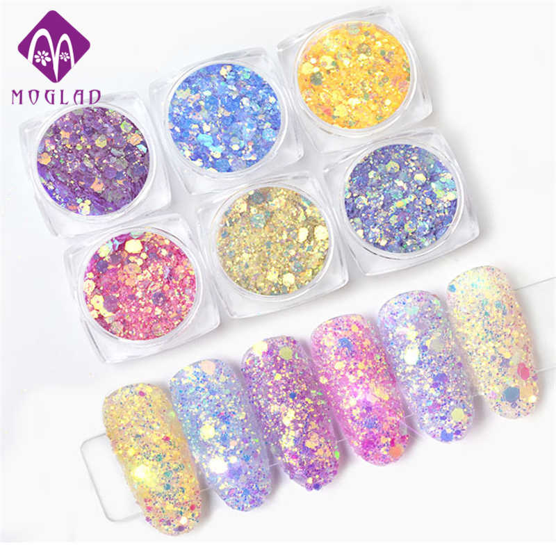 1 Box Light Color Change Nail Glitter Sequins Ultraviolet Light Gradient Holographic Hexagon Flakes Manicure Nail Art Decoration