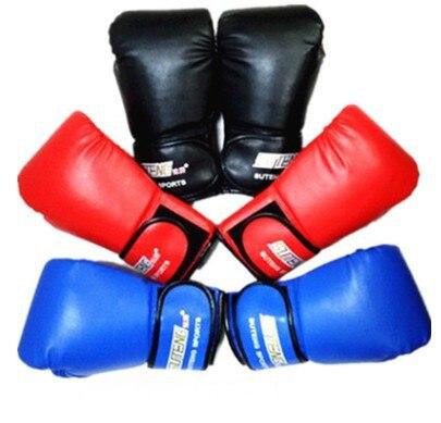 1 Pair PU Leather Sparring Kick Boxing Gloves Men Sandbag Hand Punching Pad Gloves MMA Muay Thai Fitness Training Gloves