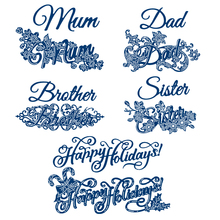 Happy Holiday Family Members Words with Flowers Metal Cutting Dies for Scrapbooking DIY Paper Card Making Decoration New 201