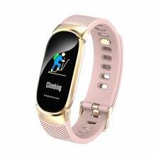 Купить с кэшбэком New Sports Waterproof Smart Watch Women Smart Bracelet Band Bluetooth Heart Rate Monitor Fitness Tracker Smartwatch Metal Case