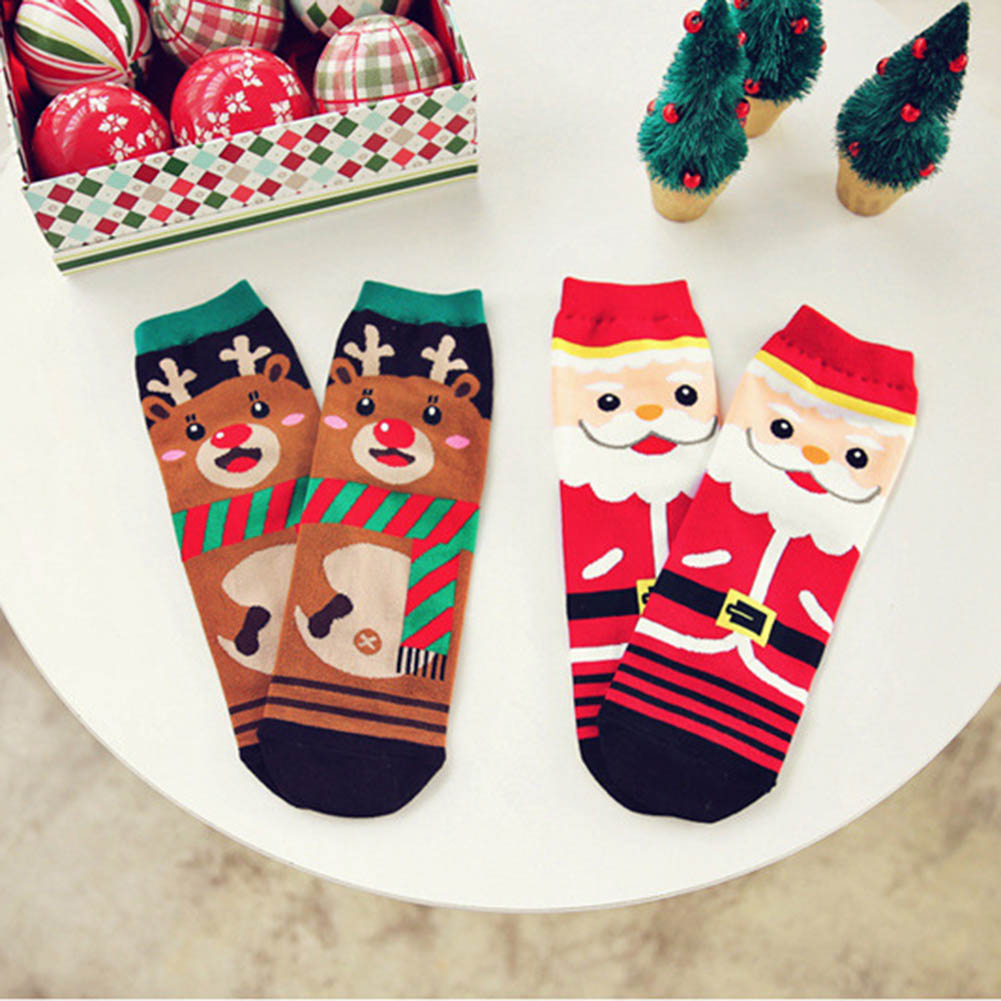 Color Random Women Soft Winter Socks Christmas Warm Cotton Sock Cute Santa Claus