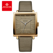 Купить с кэшбэком Julius Brand Quartz Watches Women Clock Gold Square Leather Bracelet Casual Fashion Whatch Ladies Cheap Promotion Relojes JA-354