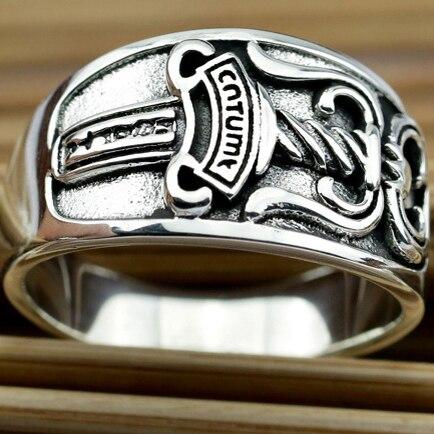 Men's Punk Rock Rings Fashion Vintage Sterling 925 Male Silver Rings Cheap Retro