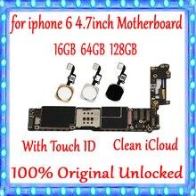 16 Гб 64 Гб 128 ГБ для iphone 6 4,7 дюймов материнская плата 100% оригинальная разблокированная материнская плата для iphone 6 логическая плата с сенсорным ID пластиной