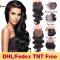 Brazilian Body Wave Closures 8A Unprocessed Virgin Brazilian Body Wave Lace Closure Light Brown Free/Middle/3 Part Lace Closures