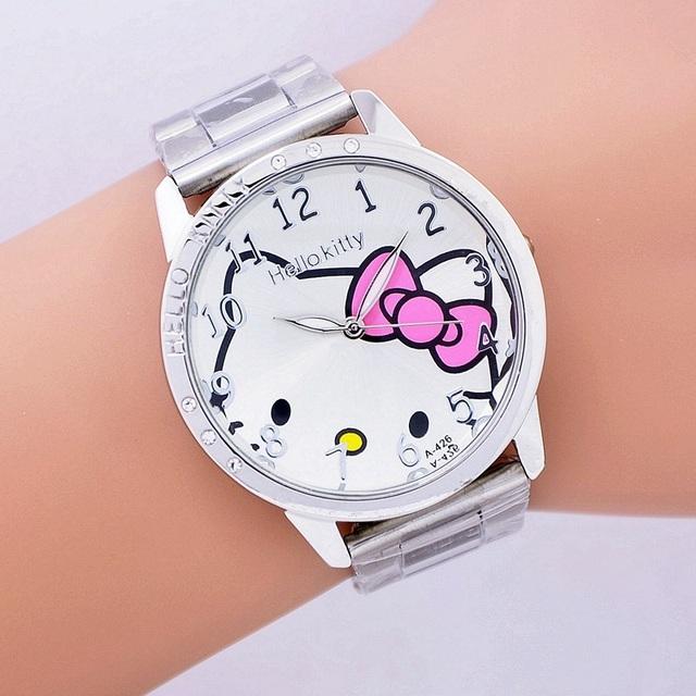 ba78ec828f 2016 hot sales Fashion Women stainless steel Watch Girls Hello Kitty quartz  Watch for Cartoon Watches 1pcs
