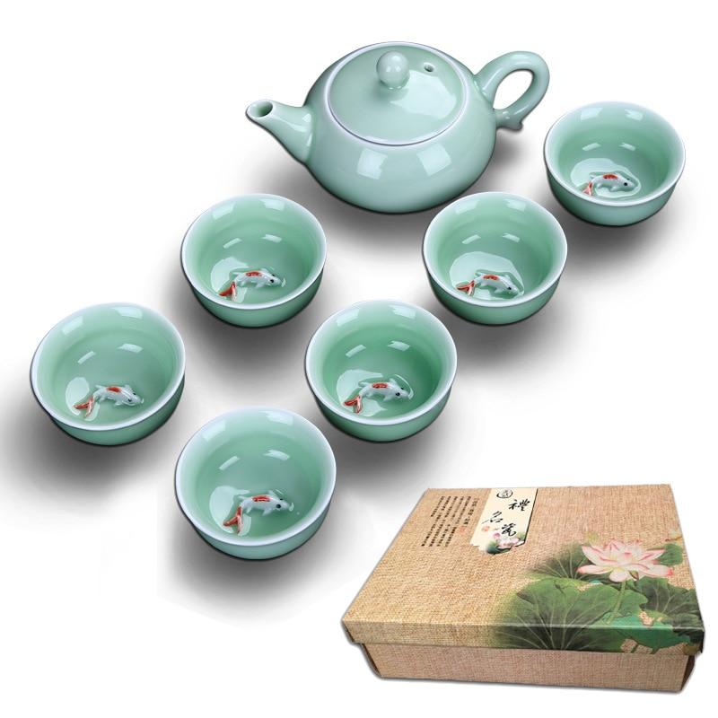 Celadon Fish керамический чайный набор чайник керамическая чайная чашка рыба Китайский кунг фу чайный сервиз, кружка для вина 1pot + 6 чашек