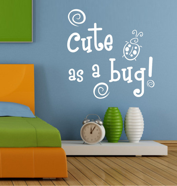 Wall Decals Quotes Cute As A Bug Blue Green Insects Baby Boys - Baby boy nursery wall decals