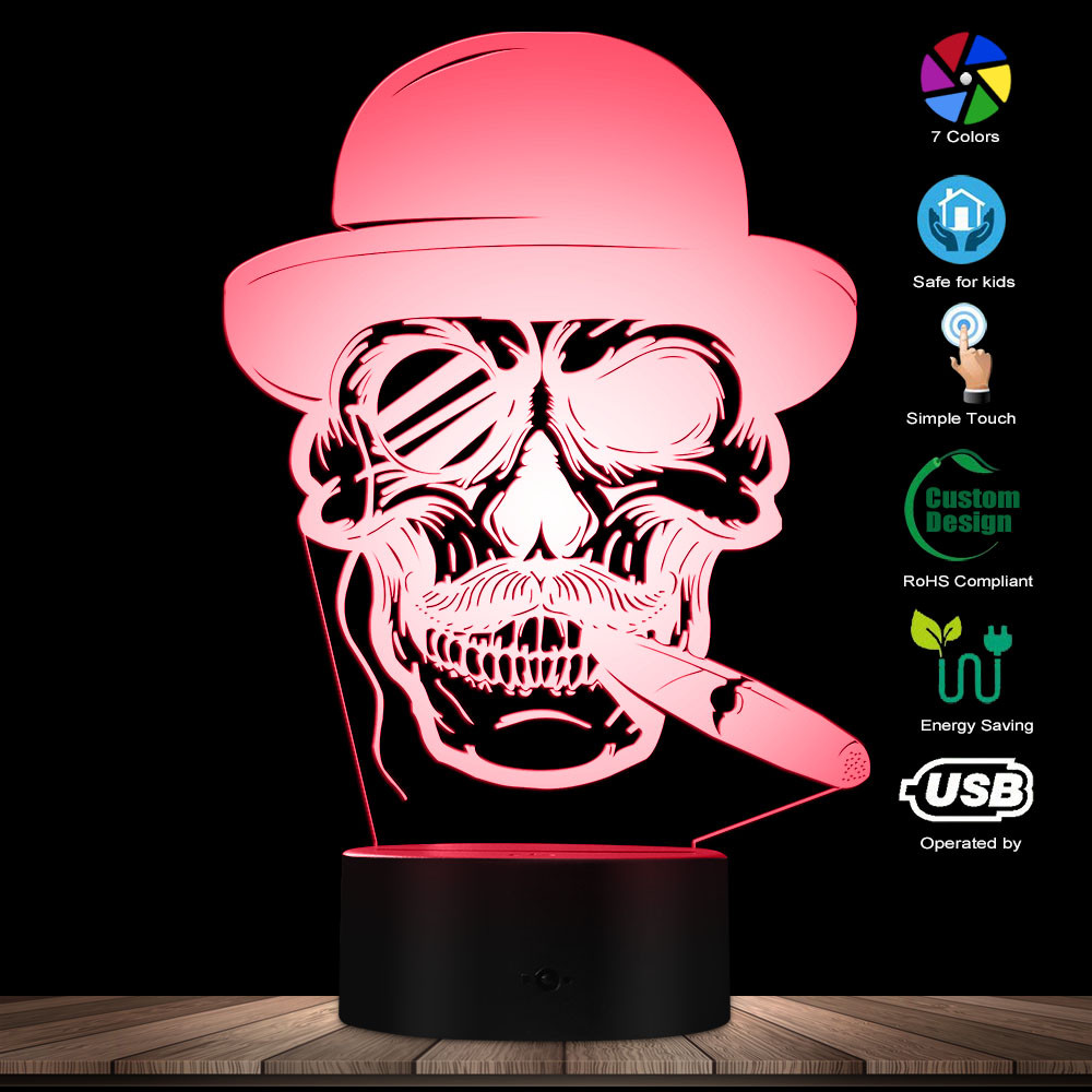 Skull In Hat With Cigar And Monocle Emblem 3D Lighted Sign Cigar Smoking Skull Lamp Halloween Skeleton Smoke LED Night Light