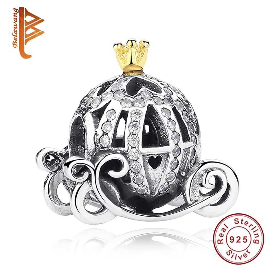 Authentic 925 Sterling Silver European Cinderella Pumpkin Carriage Charm Gold Crown Beads Fit Original Pandora Charm Bracelet